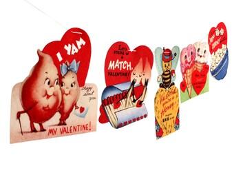 Vintage Valentine Card Garland 2 - photo reproductions on felt - Valentine pun cards - anthropomorphic Valentines