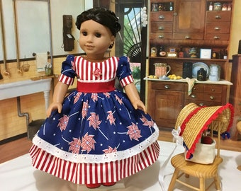 "Patriotic ""Pinwheels and Stripes"" dress, shoes, petticoat, and straw bonnet fits American Girl 18 inch dolls or similiar sized doll"