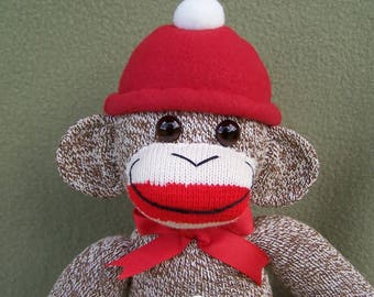 Classic Red Heel Sock Monkey Handmade Soft Toy