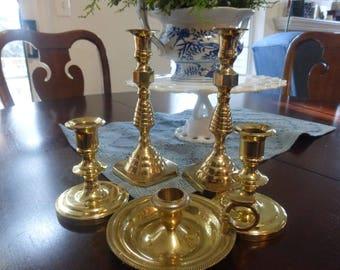 Vintage Elegant Brass Candlesticks