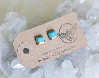 Turquoise, Hand Gilded, Tiny, Post Earrings, Square Studs
