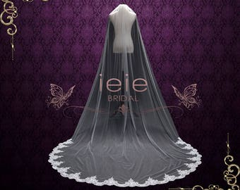 Cathedral Veil with Soft Tulle and Laces at the End | Wedding Veil | Bridal Veil |  Lace Wedding Veil | Cathedral Lace Veil | VG2006
