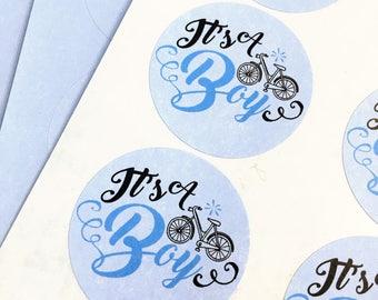 It's A Boy Envelope Seal - Baby Boy Round Baby Shower Sticker Labels - 24 Round It's A Boy Stickers for Baby Shower - 1.67 Round Baby Labels