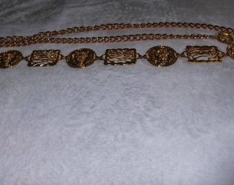 Gold Chain Belt with Lion Head and Rectangle Accents