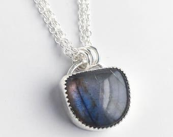 Labradorite Pendant Necklace - Simple Labradorite and Sterling Silver Necklace - Pink Purple Blue Labradorite - Stone Jewelry - Labradorite