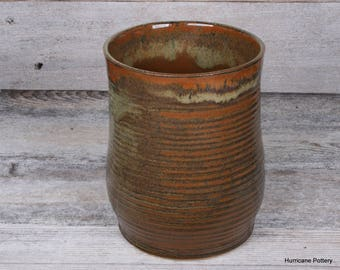 Kitchen Cooking Utensil Holder. Utensil Crock. Utensil Organizer. Handmade Pottery. Hurricane Pottery