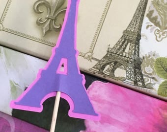 Eiffel Tower Cupcake Toppers, Paris Cupcake Toppers, Birthday, Showers, Weddings, Travel