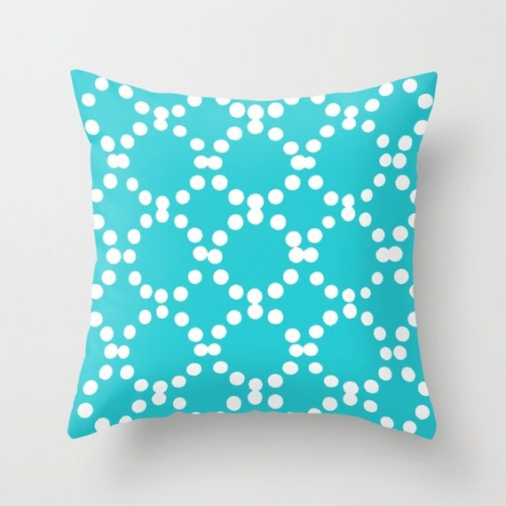 OUTDOOR Throw Pillow - Turquoise Outdoor Pillow - aquamarine patio cushion - Modern Geometric Pillow Ring Dot -  16 18 20 inch - Outside