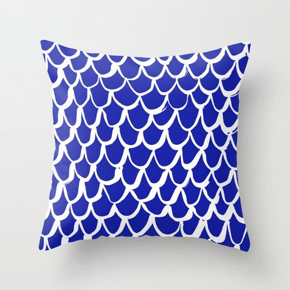 Azure Blue and White Mermaid Throw Pillow . Blue Pillow . Cobalt Cushion . Mermaid Pillow . Sapphire Pillow . Blue Cushion 14 16 18 20 inch