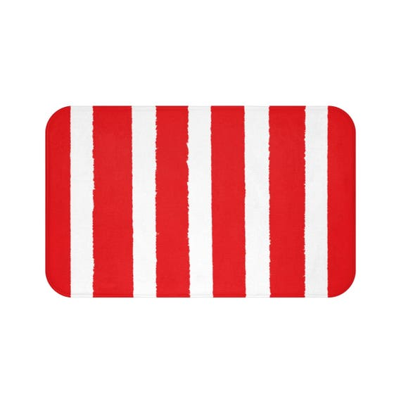 Bath Mat . Red Bath Mat . Striped Bath Mat . Red Bath Rug . Red Shower Mat . Red Rug . Red Striped Rug . Red and White Striped Rug