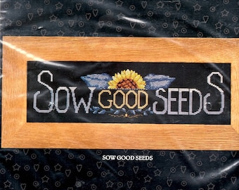 Sow Good Seeds Kit Sunflower Sun Rise Blue Leaves Counted Cross Stitch Embroidery Craft Pattern