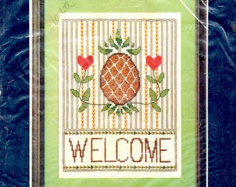 """Welcome Sampler Kit 12"""" x 14"""" Watermelon Urn of Flowers Alphabet Hearts Pineapple Quilt Blocks Counted Cross Stitch Embroidery Craft Pattern"""