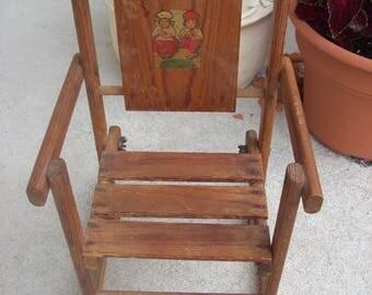 Homemade Wooden Doll Size Rocking Chair Dutch Children Decal Estate Sale Find