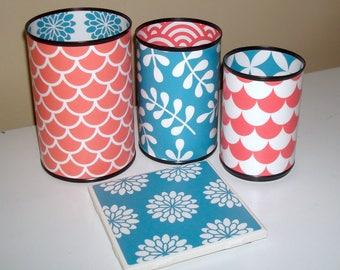 Coral and Teal Tin Can Desk Accessories, Pencil Holder, Pencil Cup, Desk Organization, Office Decor, Dorm Decor - 1006