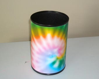 Fun Swirl Tie Dye Desk Accessories / Rainbow Tie Dye Pencil Holder / Cute Office Desk Organizer / Dorm Decor - 1050