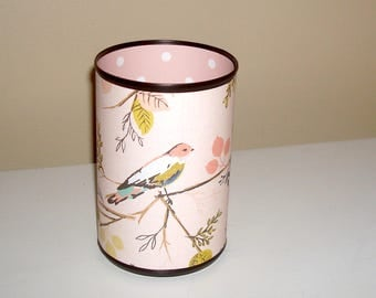 Pale Dusty Rose Bird Desk Accessories / Bird Pencil Holder / Polka Dot Pencil Cup / Office Desk Organizer / Dorm Decor - 1106