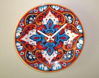 Mediterranean Tile Wall Clock in Rust Orange and Navy, 8-1/2 Inch SILENT Plate Clock, Kitchen Clock, Mediterranean Home Decor - 2403