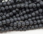 8mm Black Lava Rock Beads,   15 inch  Strand,  Lava beads, Black Beads, 48 Per Strand