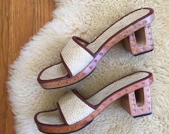 Carved wooden heel sandals size 7