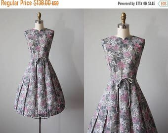 ON SALE 50s Dress - Vintage 1950s Dress - Pink Grey Hydrangea Floral Print Voile Cotton Full Skirt Sundress L - Best for Last Dress