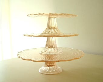 3 Pink depression glass cake plates, set of stackable cake stands for desserts & cupcakes, pink blush wedding decor, peachy pink serve ware