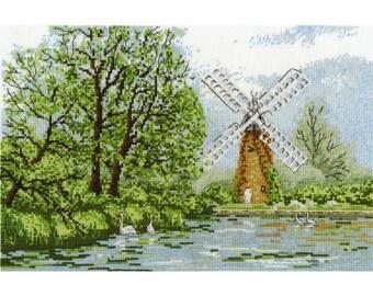 DMC Cross Stitch Kit- Hunsett Mill Cross Stitch kit-BK960 , New , Counted Cross Stitch, Mill and pond , windmill kit