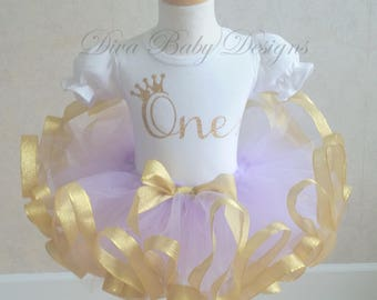 ONE light purple and gold first birthday ribbon trimmed tutu outfit -Also comes in ages TWO, THREE, Four, Five lavender & gold pink and gold