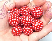 20mm Red With White Printed Polka Dots Qty 10, Minnie Inspired Chunky, Bubblegum Beads, Gumball Beads, Chunky Jewelry Beads, Acrylic Beads