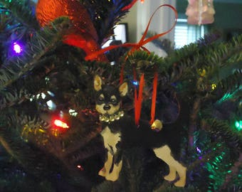 Hand Painted Chihuahua Christmas Ornament, Dog Ornament, Gift Tag, Personalized, free shipping