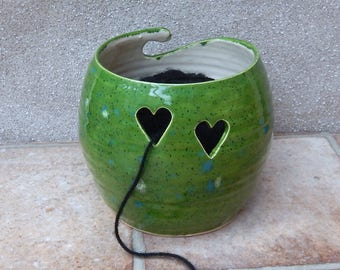 Yarn bowl knitting or crochet wool bowl hand thrown