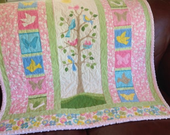 Tree Of Life Baby Girl Quilt - READY TO SHIP - Baby Quilt - Tree of Life - In Stock - Robert Kaufman Fabric Panel