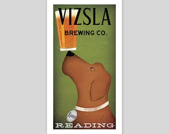 FREE Custom Personalized VIZSLA Dog Craft Beer Brewing Company graphic art illustration PRINT Signed