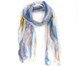 Cobweb Felted Scarf, Handmade Wool Winter Scarf, Blue Beige White, Long Womens Mens Unisex Scarf, Winter Fashion Accessory, Gift for Her