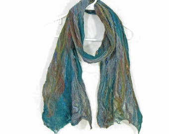 Cobweb Felted Scarf, Handmade Wool Winter Scarf, Green Teal, Earthy Brown, Gray, Womens Scarf, Winter Fashion Accessory, OOAK Gift for Her