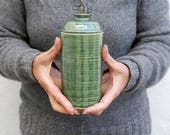 Narrow ceramic kitchen canister - stoneware pottery jar in green
