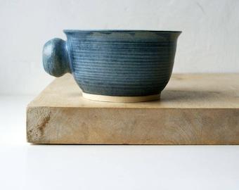 Stoneware shaving bowl glazed in smokey blue - hand thrown british pottery