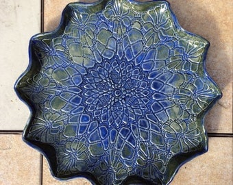 Lace Platter Stoneware Plate Green Blue 12 inches