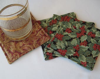 Green Holly Christmas Coasters Set of 4 or 6 Christmas Mug Rugs Red and Gold Paisley Coasters Red Christmas Coasters Christmas decor