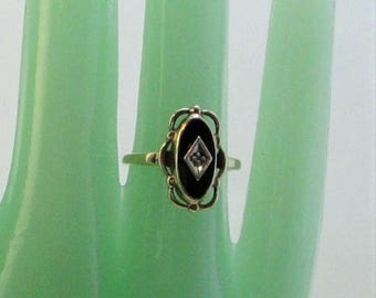 Antique Gold and Onyx with tiny Diamond Mourning Ring