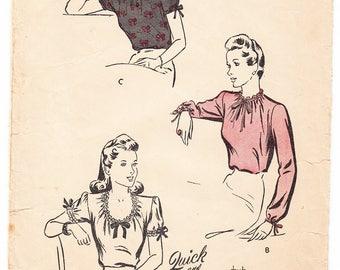 Vintage 1944 Butterick 2504 Sewing Pattern Women's Blouse Size 14 Bust 32