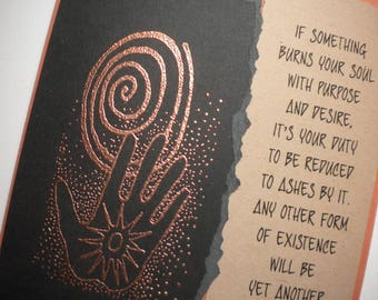 SOUL'S DESIRE ~ Mixed media collage greeting card with bookmark, quote by Charles Bukowski