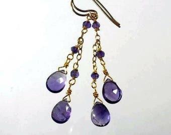 Amethyst Earrings Amethyst Drop Earrings Purple Earrings Purple Cascade Earrings February Birthstone