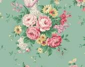 Ruru English Rose Garden  Cotton Fabric Rose ru2310-11c Roses on jade