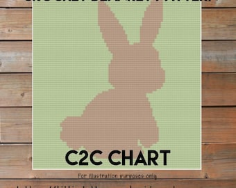 Baby Blanket - Bunny Silhouette Crochet blanket patterns - blanket tutorial - Corner to Corner nursery crib afghan C2C Written Line Counts