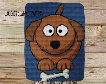 Afghan Pattern Dog with Bone  - crochet blanket pattern - Corner to Corner - C2C - Written Line Counts - Cross Stitch - pattern baby blanket