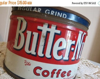 On SALE Vintage BUTTERNUT Coffee Tin Can