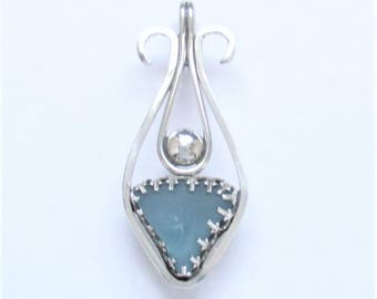 Sea Glass Jewelry - Sterling Aqua Sea Glass Pendant
