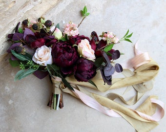 Deep Burgundy Eggplant and Peach Wedding Bouquet | Moody Modern Romance Silk Flower Bridal Bouquet | SG-1044