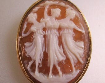 XMAS in JULY SALE Vintage 14k Yg Three Graces Cameo Brooch Pendant Hand Carved Fine Jewelry Jewellery
