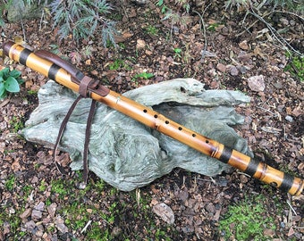 Native American Style Flute, Key of F#, Bamboo and Walnut from Tree of Life Designs